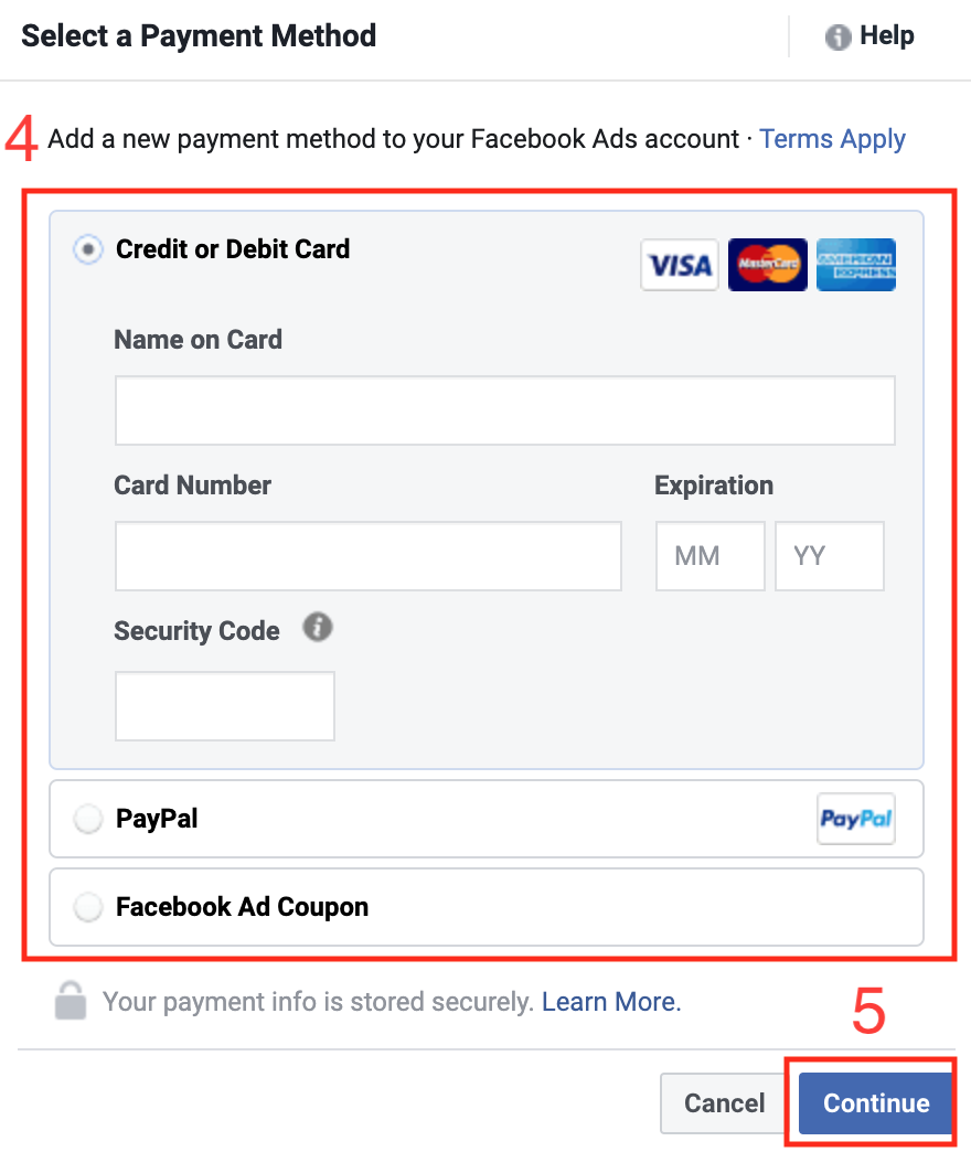 Facebook Add Payment