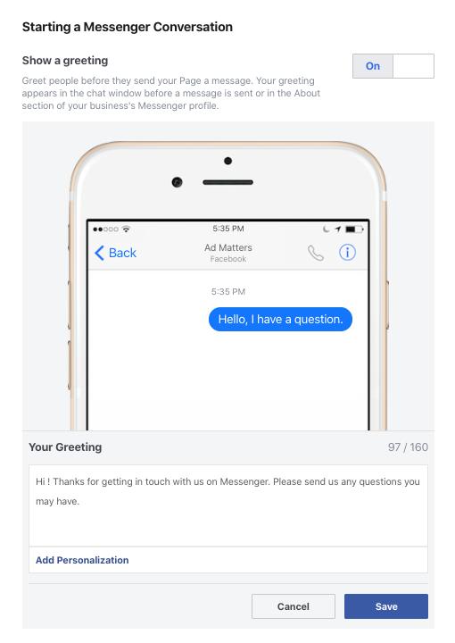 Screenshot of Greeting Message