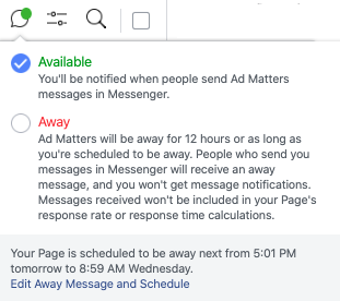 Available / Away in Messenger